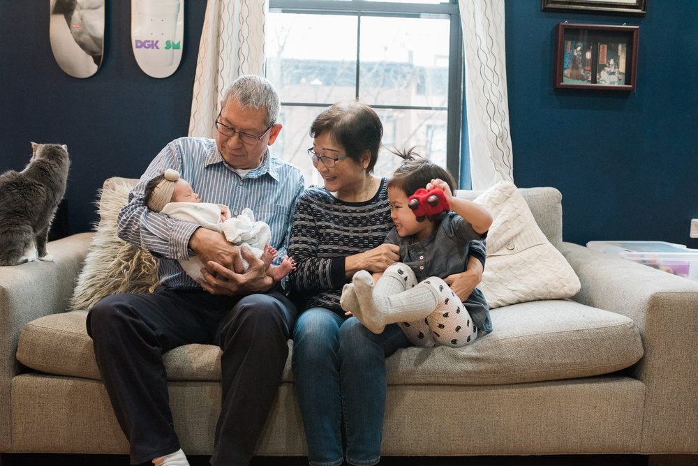 family photo with grandparents in home lifestyle newborn photographer lindsey victoria photography park slope brooklyn ny