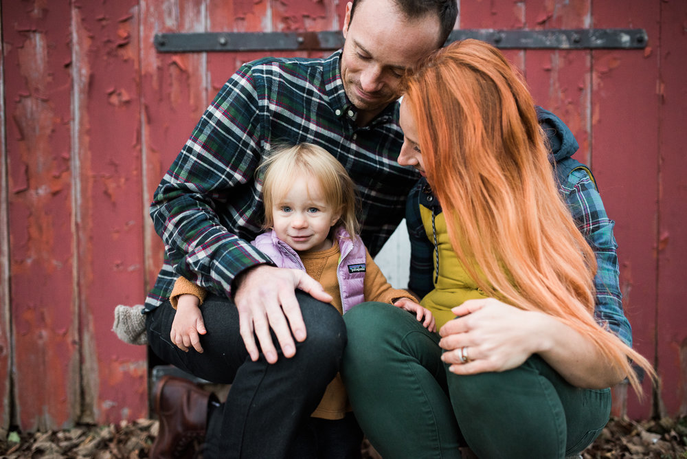 fall family photos what to wear vest flannel New England red barn in Litchfield County CT by Lindsey Victoria Photography