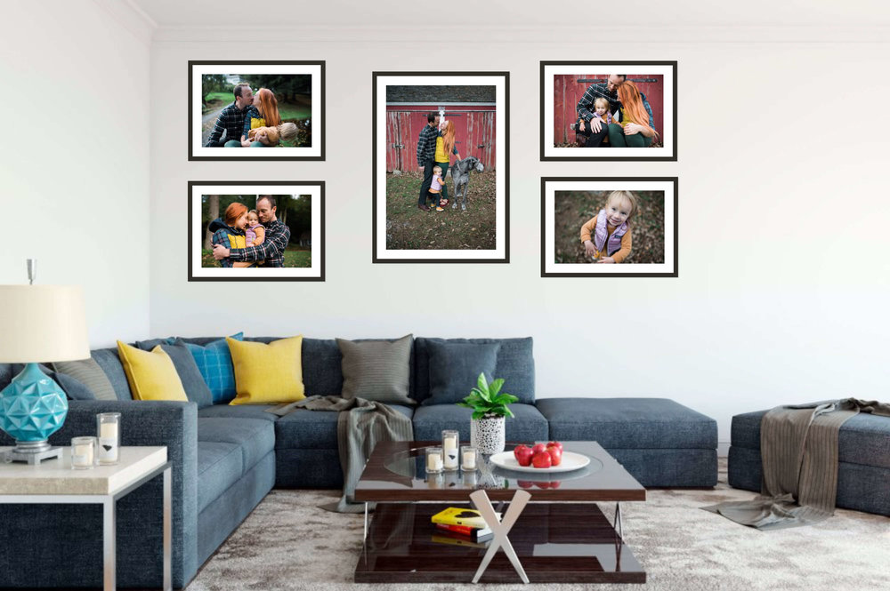 Hanging family photographs makes a house a home.