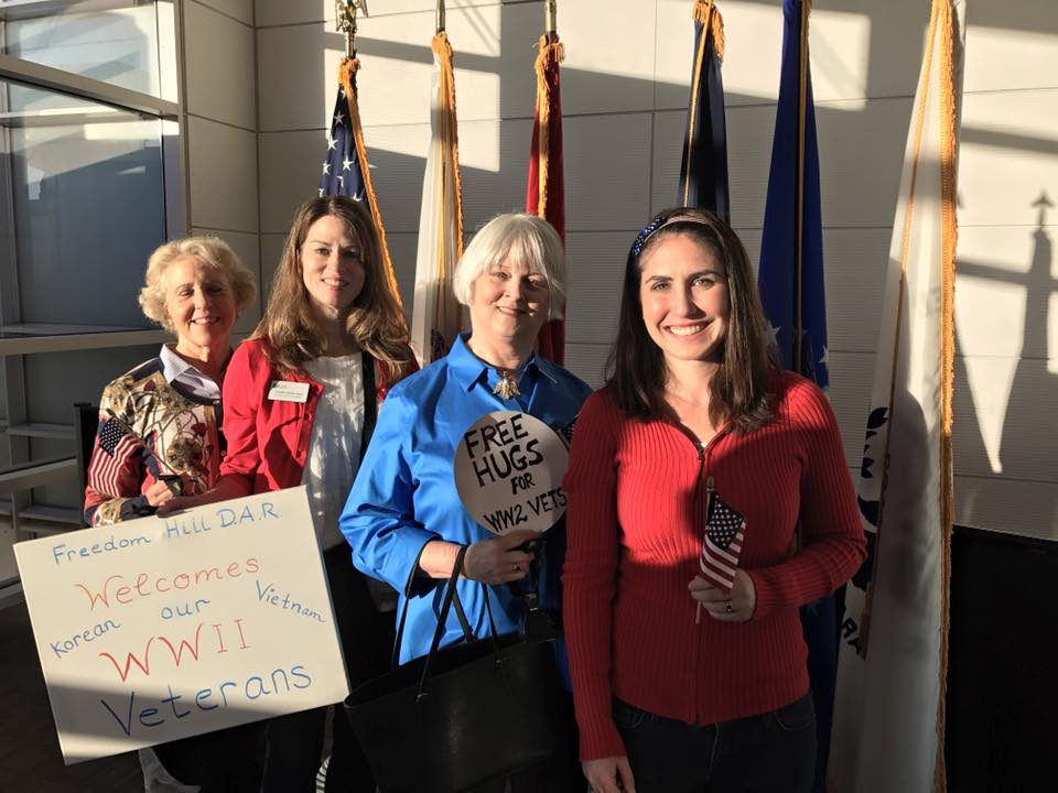 Freedom Hill Daughters greet veterans at their Honor Flight, Reagan National Airport
