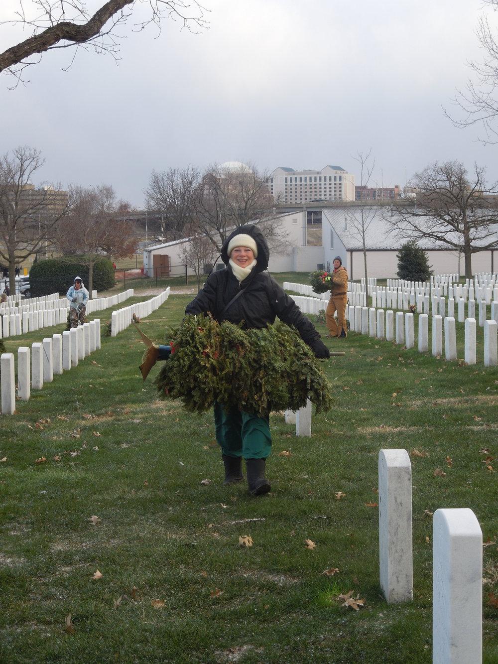 Wreath clean up, Arlington National Cemetery