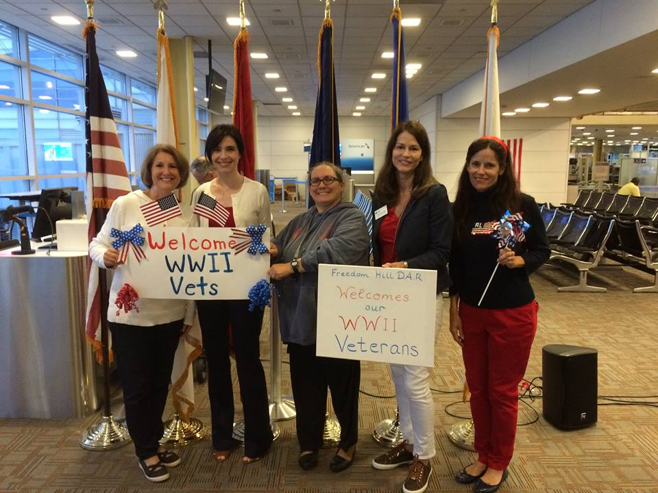 Freedom Hill Daughters greet Honor Flights at DCA