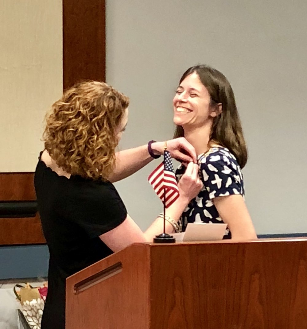 Pinning ceremony for our new Chapter Regent, June 2018
