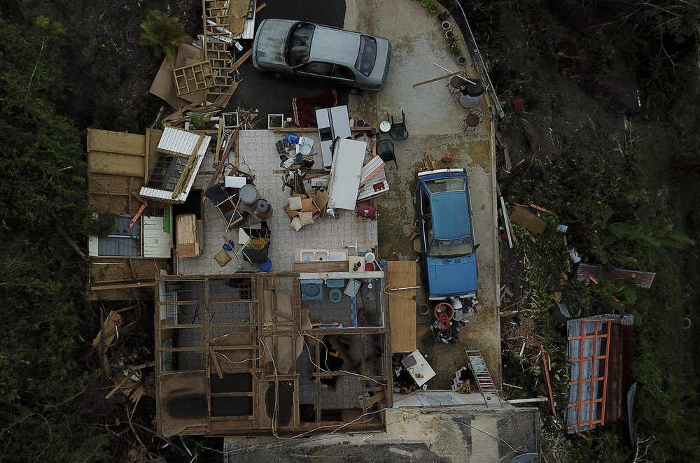 An overview shows the destruction of Daniel Cruz Pagan's home, in the barrio Bozas neighborhood in the Cialés municipality of Puerto Rico, a mountainous area hit hard by Hurricane Maria. Residents are still without power in the area and many have suffered extreme damage to their homes. Oct. 11, 2017