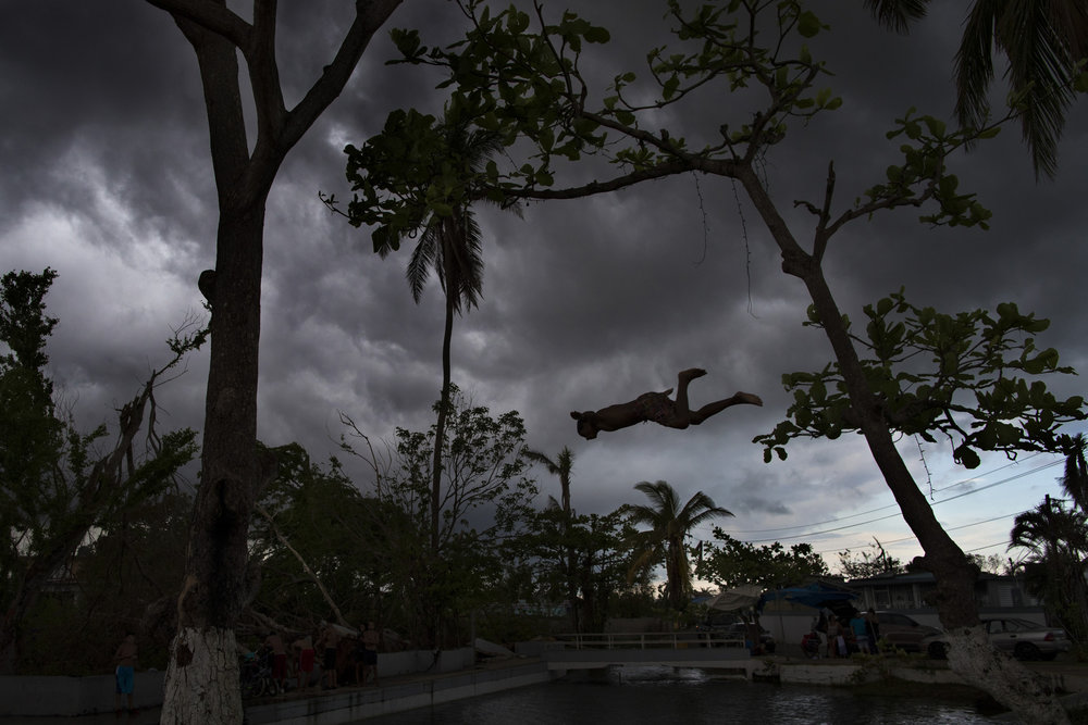 "A young boy dives from one of the still standing trees surrounding the ""ojo de aqua,"" or ""eye of water,"" which refers to a natural spring area that creates a water pool in the Vega Baja municipality of Puerto Rico. Since Hurricane Maria hit the area, many residents have been using the spring for gathering water for drinking and home use, but the pool is also used for swimming and bathing. Oct. 12, 2017"
