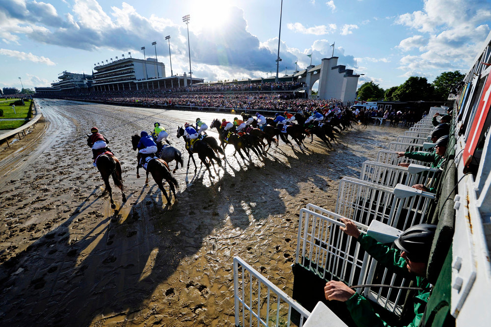 May 6, 2017; Louisville , KY, USA; Horses break from the starting gates during the 2017 Kentucky Derby at Churchill Downs.