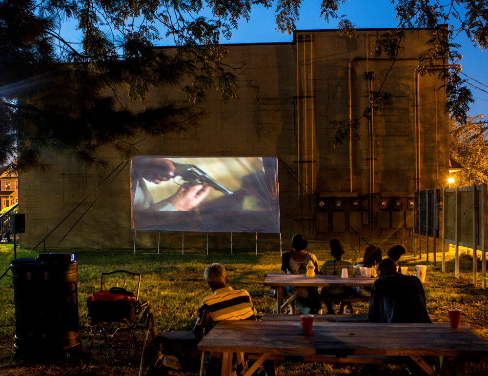 Movies are shown every Friday night behind Sweet Peaches Restaurant in Louisville's troubled West end, as a way to bring the community together. The last movie neighborhood theater closed over 20 years ago.