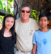 Tim with two of the Cambodian students being helped in fulfilling their educational goals through his, and son Kyle's foundation, One Degree Forward.     Want to help out? Just  visit the  website