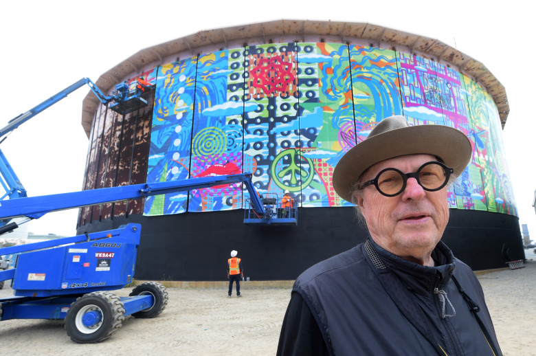 Graphic and visual artist John Van Hamersveld, at the site of the 510-foot round mural installation on Tuesday, April 24,2018 in El Segundo.  The mural marks the completion of the Los Angeles Department of Water and Power�s (LADWP) Scattergood tank renewal project. This art mural is comprised of 51 individual panels that are10-foot by 32-foot each.  (Photo by Dean Musgrove, Los Angeles Daily News/SCNG)