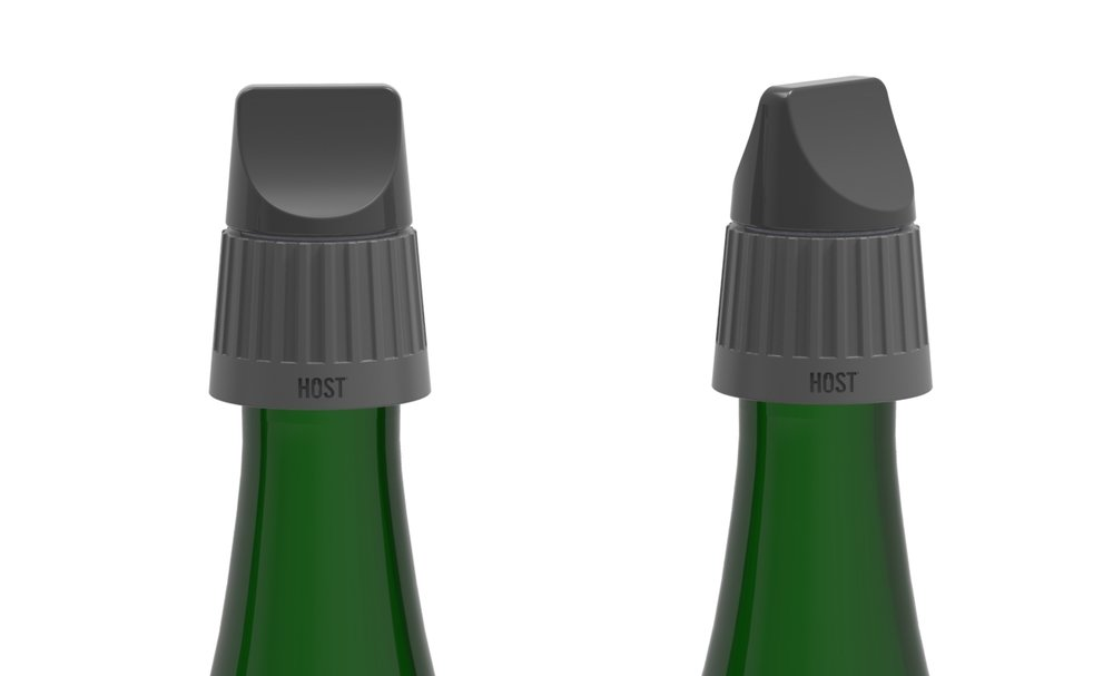 Champagne stopper is tightened by a knob on top
