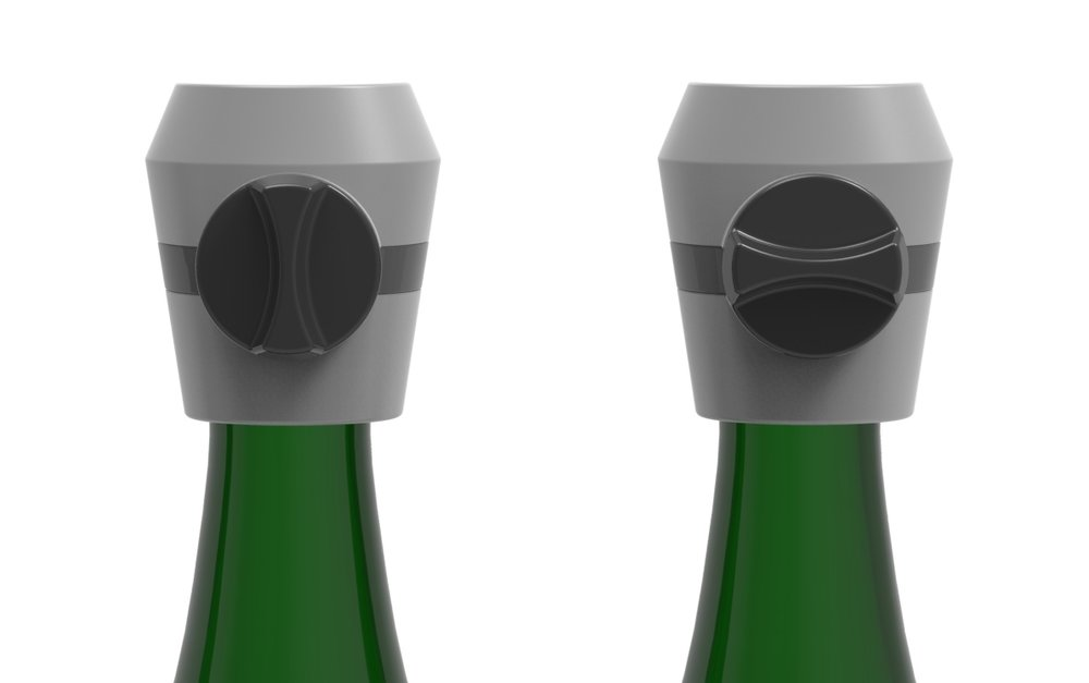 Champagne stopper is tightened by a knob on the side
