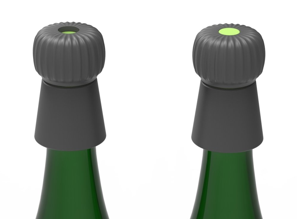 Champagne stopper has a indicator when stopper is fully tightened