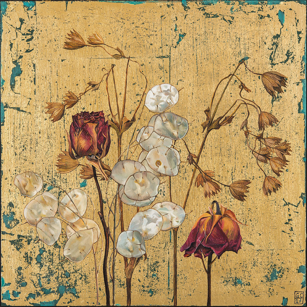 'Rose and Honesty', Oil and Metal leaf on Board, 30.5cm x30.5cm, 2017 SOLD