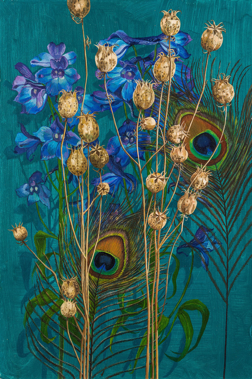 'Feathers and Delphiniums', Oil on Card, 37.5 cm x 25 cm, 2015. SOLD