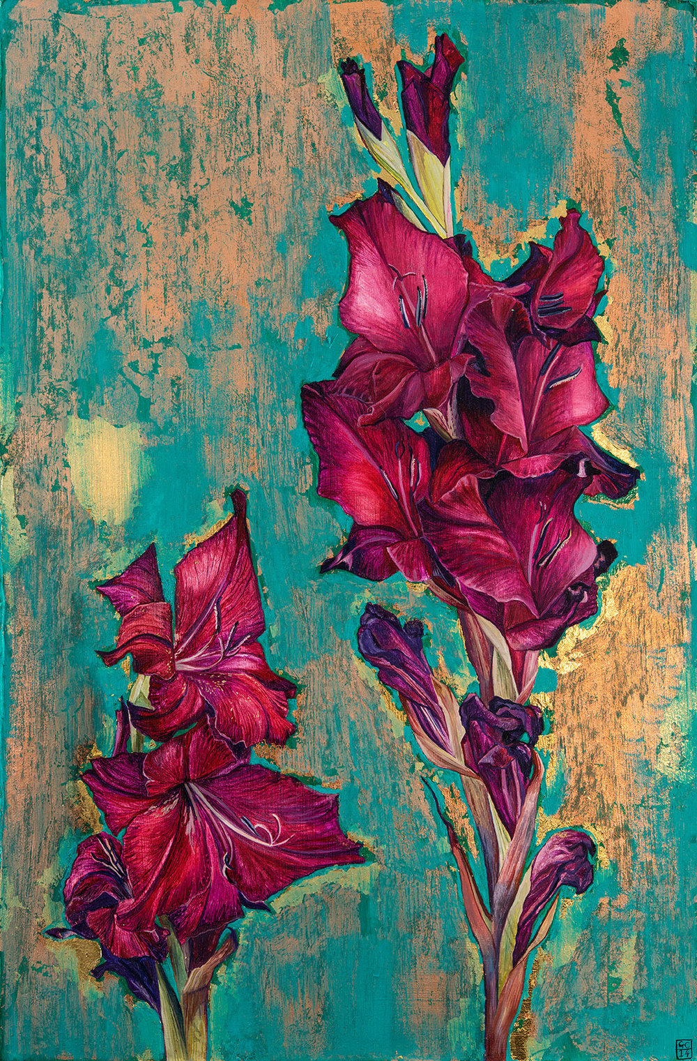 'Gladioli', Oil and Metal Leaf on Card, 37.5cm x 25cm, 2015. SOLD