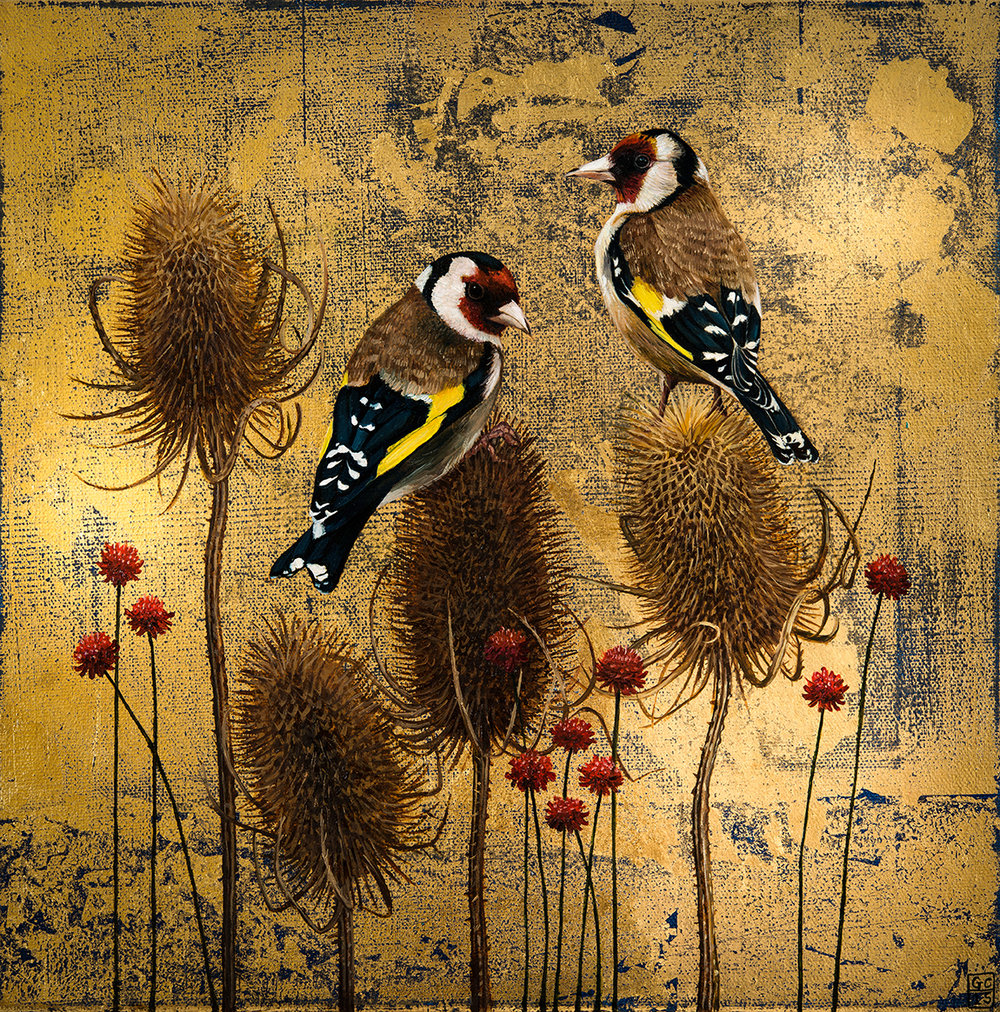 'Goldfinch and Teasels' 30cm x30cm, Oil and Metal Leaf on Canvas, 2015, SOLD