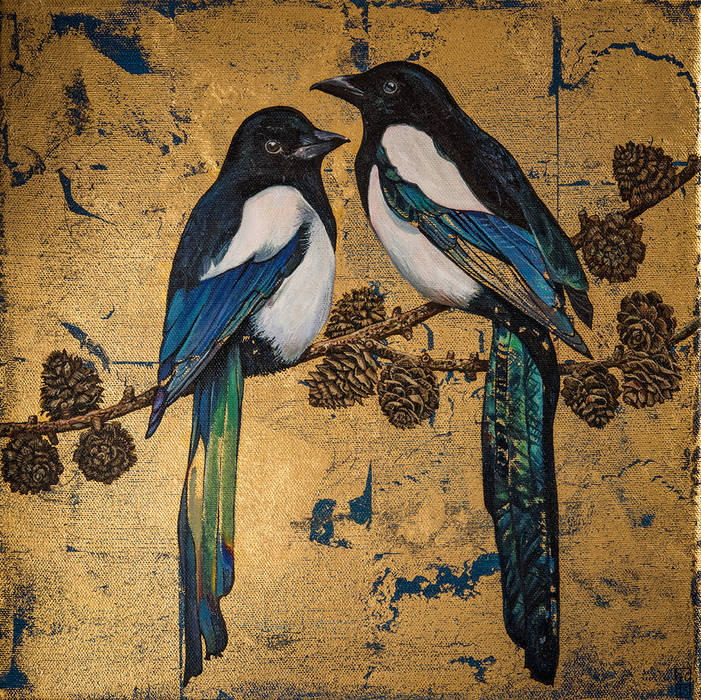 'Magpies', Oil and gold leaf on canvas, 30cm x30cm, 2015,  SOLD
