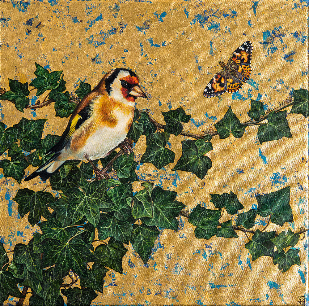 Goldfinch and Painted Lady, Oil and gold leaf on canvas, 30cm x30cm, 2016  SOLD