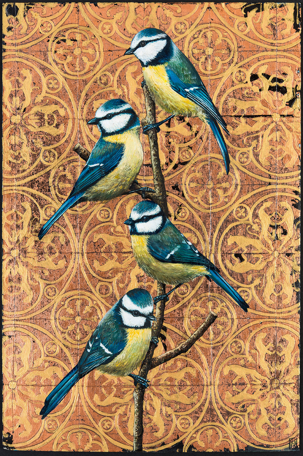 'Blue Tits on Copper', 37.5 cm x 25 cm, Oil and Metal Leaf on Board, 2015, SOLD