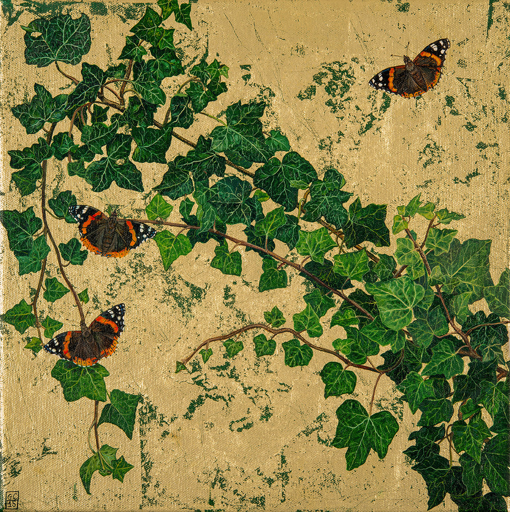 'Ivy and Red Admirals', 30cm x30cm, 18ct Gold Leaf on Canvas, 2015, SOLD