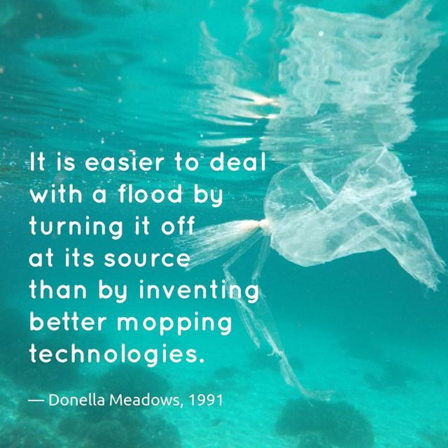 """Recycling is better than disposal, reuses better than recycling, but reduction is best of all. It is easier to deal with a flood by turning off at its source than by inventing better mopping technologies."" by Donella Meadows, 1991.  Let's close the tab that is flooding our oceans! #breakfreefromplastic #mappingplastics #cleanseas #quotesoftheday #beatplasticpollution #environmentaljustice #reducereuserecycle #systemsthinking #zerowaste #underwaterphotography #underwaterworld #goprohero6 #zerowastelifestyle #dietkantongplastik #sampahplastik #hepicircle #rethinkplastic #zerowastehome #ourocean #millionactsofblue. Photo by mappingplastics"