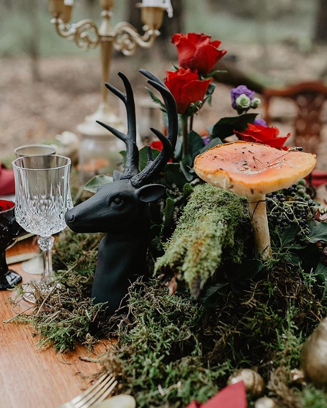 Cannot get enough of these details!! 😍😍 . . Photographer: @white_shutter_photography  Styling: @onebigdayeventhire . . #whimiscal #weddinginspiration #weddingdecor #tablesetting #wedding #moss #mushrooms #deer #forestwedding #elopement #elopementphotographer #elopementvideographer #weddingvideomelbourne