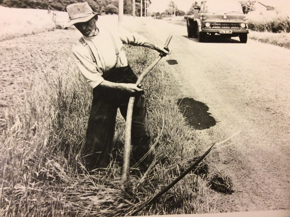 Mr Rees of Ty Gwyn, Peterstone, scything the reen opposite his home (Carole Newton)