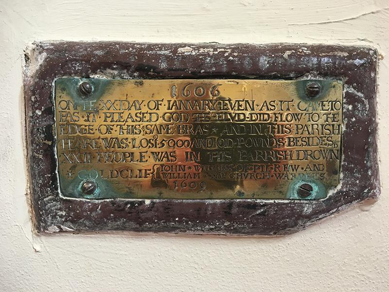 Plaque commemorating 1607 flood, St Mary Magdalene, Goldcliff.
