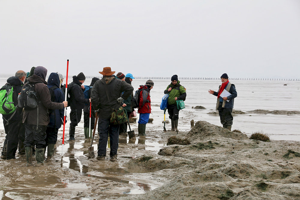Professor Martin Bell (right) briefs the group