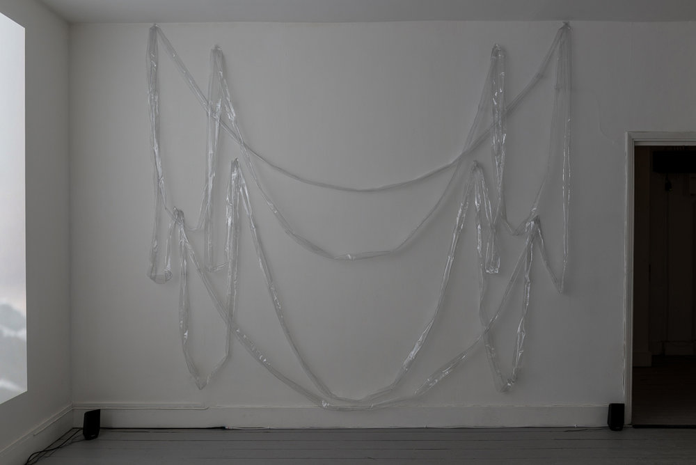 Nika Neelova, Exuviae, sewn plastic sculpture casing (Folded Rooms), 2017. Image courtesy Vigo Gallery. Photo: Damian Griffiths.