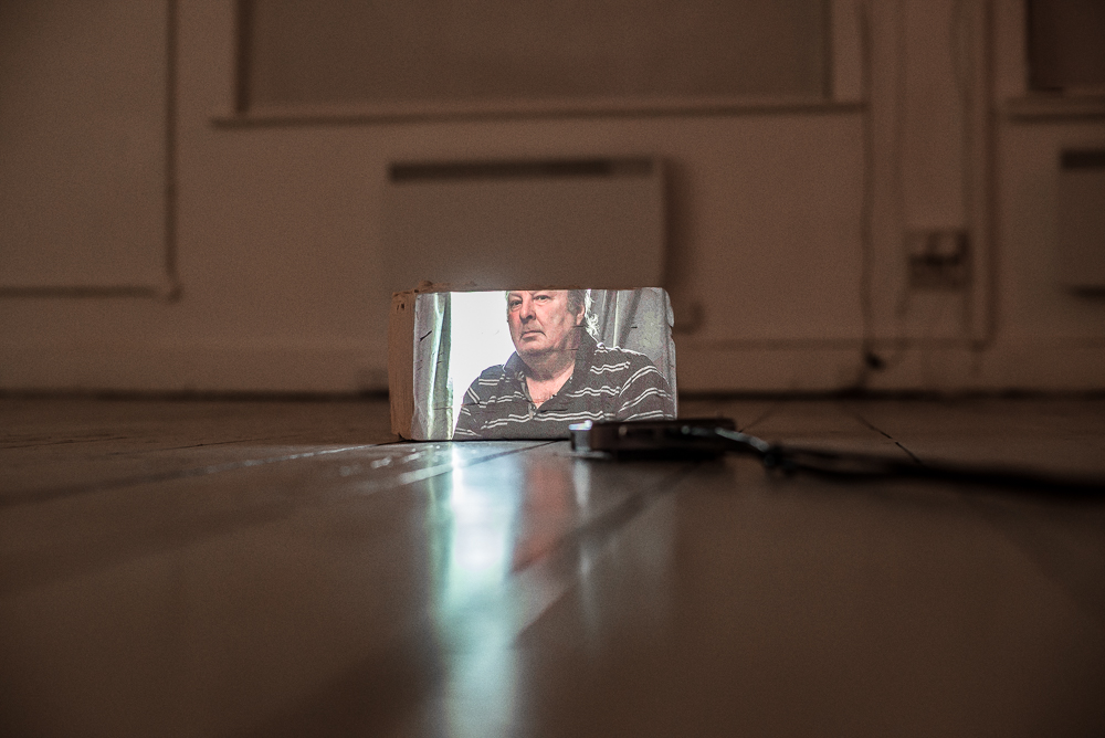 Leah Capaldi, Shooting and Fishing, 2018. 2 channel video sculpture projectors, video, speakers, media players, plasticine, excerpt from McLintock! Courtesy the artist. Photo Katarzyna Perlak