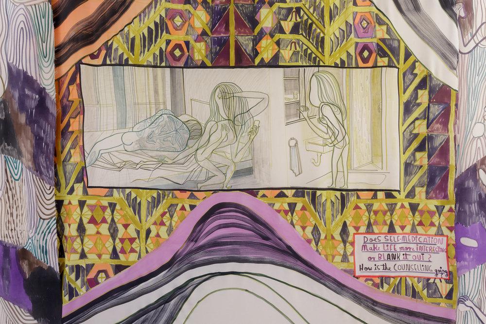 Emma Talbot, 21st Century Sleepwalk, 2018. Courtesy of the artist, Galerie Onrust, Amsterdam and Galerie Petra Rinck, Düsseldorf. Photo: Tim Bowditch