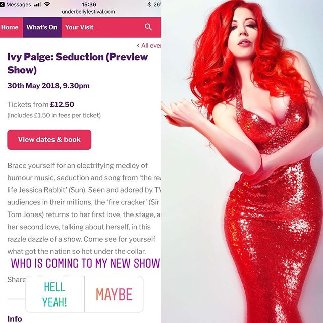 If you liked me on @thevoiceuk on @ollymurs Team Olly then make a date to come see me live next week @underbellyfest 30/5/2018 in my show Seduction. Come see for yourselves what got the nation so hot under the collar 😉#thevoiceuk #singer #comedy #fun #burlesque #cabaret #ivypaige #bossbabe #showgirl #showgirllife #music #bodypositive #girlpower #femalesexuality #bossbitch #femalecomedian #livemusic
