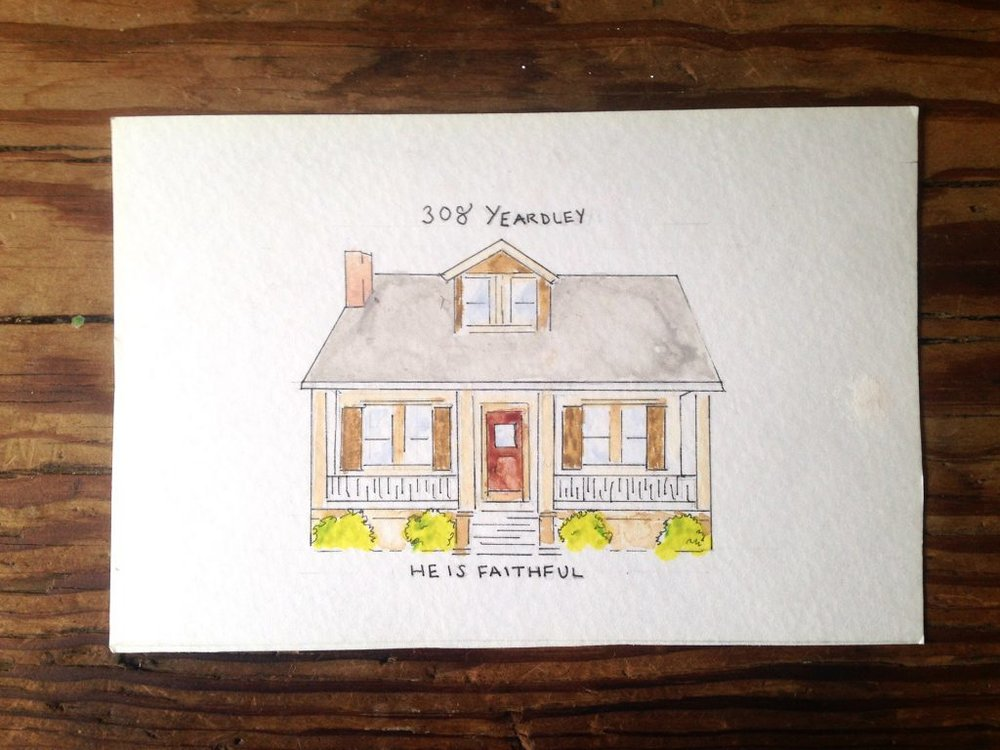 Photo of the beautiful painting of our house On Yeardley Avenue by our dear friend and TGS Ambassador, Janine Coleman