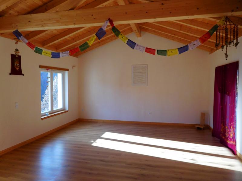 Yoga shala with underfloor heating.