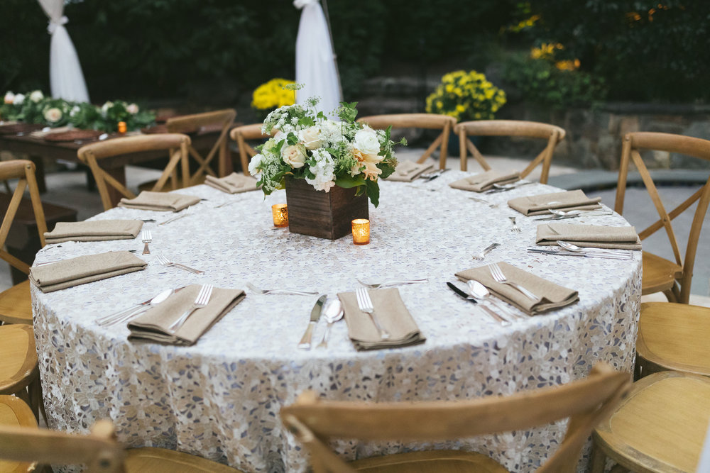 Our hostesss chose this pretty lace overlay for her outdoor party