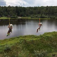 Our Zip Line was completed in August, 2017! The Zip line allows you to take an adventurous trip across our pond and discover the beautiful views all around the facility! Watch our page for open zip events, or contact us about renting this attraction for your group!