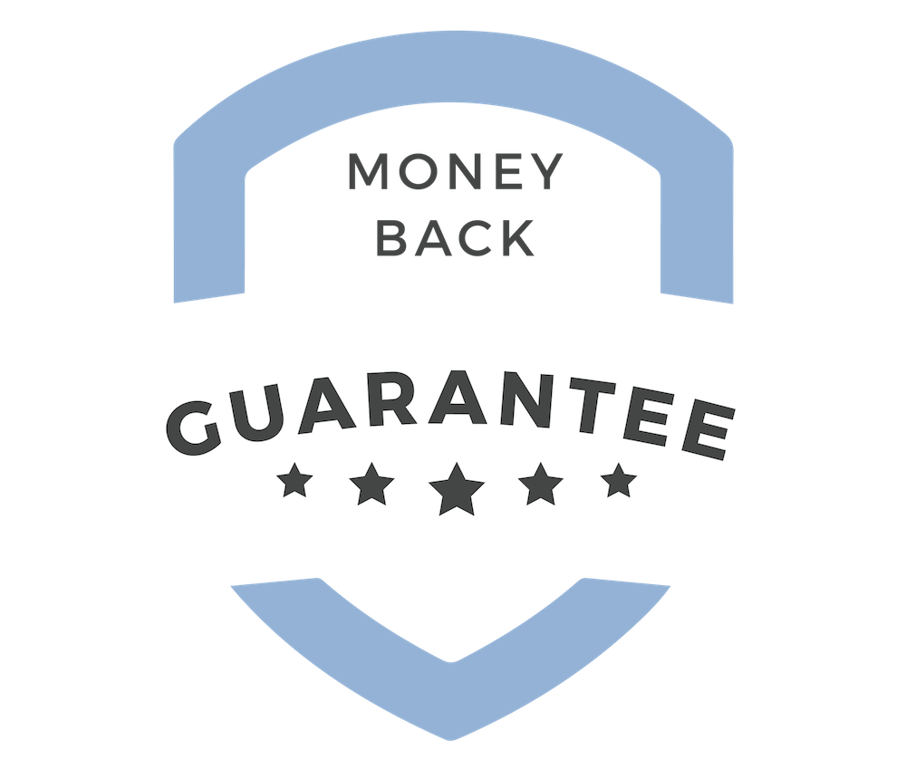 Squarespace course money back guarantee badge
