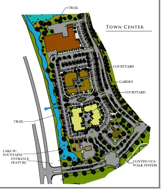 "Town Center - Camden Plantation will provide opportunities presently not available or not convenient. A commercial facility will be developed and may include a grocery store, drugstore, hardware store, clothing store, bank, restaurants, offices, loft apartments and much more.Neighborhood centers such as the Camden Plantation Town Center development will be areas of more urban uses within the village. Camden Plantation Town Center will provide the most localized availability of goods and services needed daily by village residents. The Town Center will also provide a social and operational focus of the village. Residential uses and neighborhood-oriented, mixed use development are inherent to ""village-style"" commercial centers. The Camden Plantation Town Center will play an important role in the ""building blocks"" of Camden Plantation."