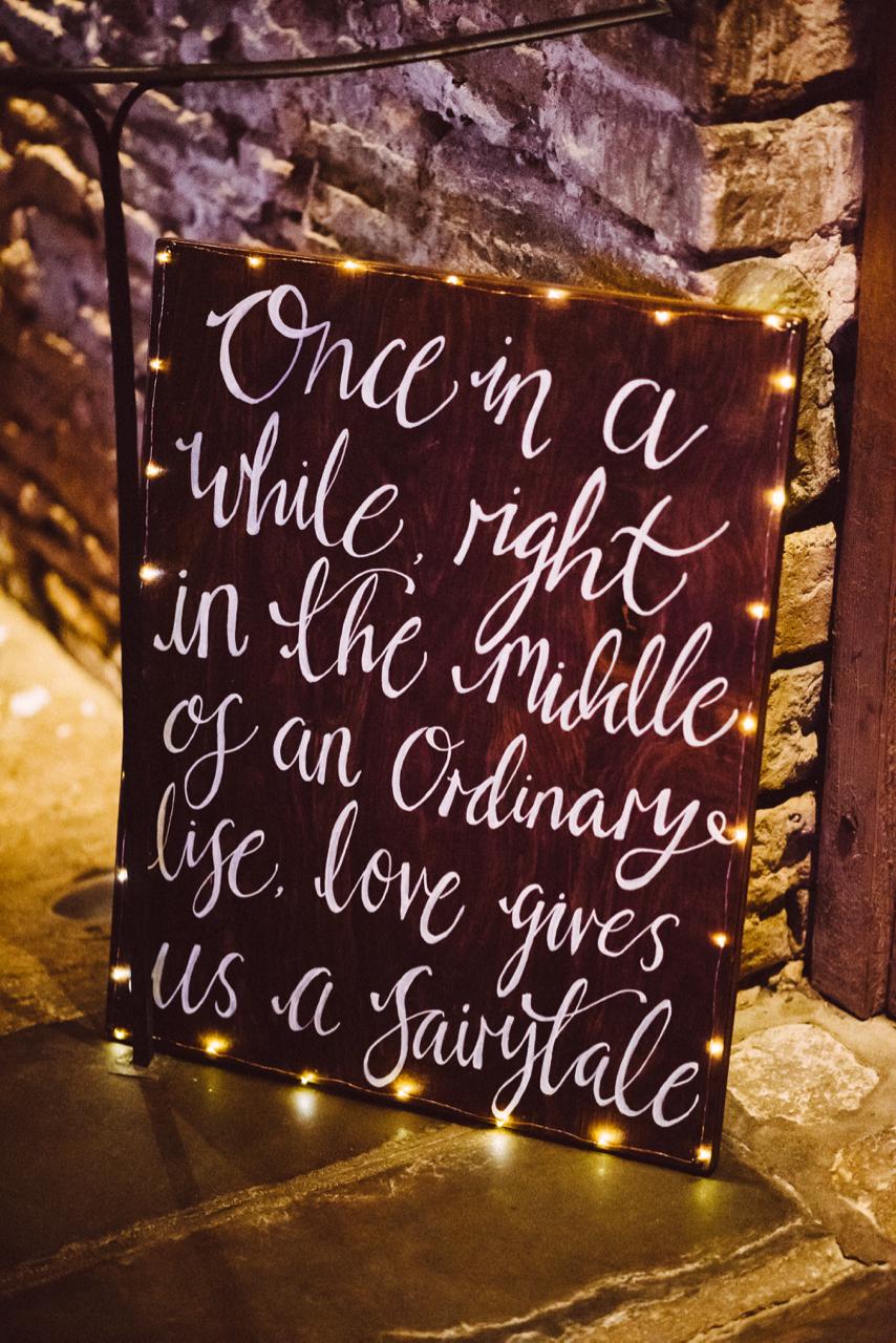 Hand lettering bespoke chalk wedding sign on board