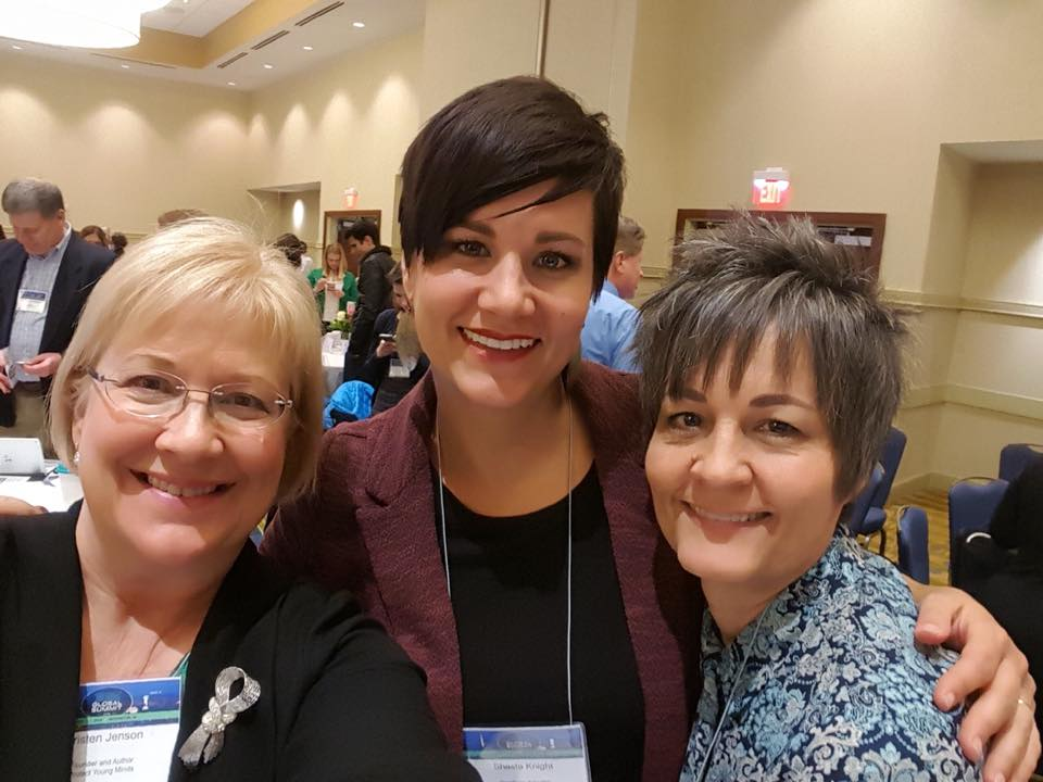 Kristen Jenson, author of the Good Pictures Bad Pictures books, with Shasta and Julie at the 2018 CESE Summit.