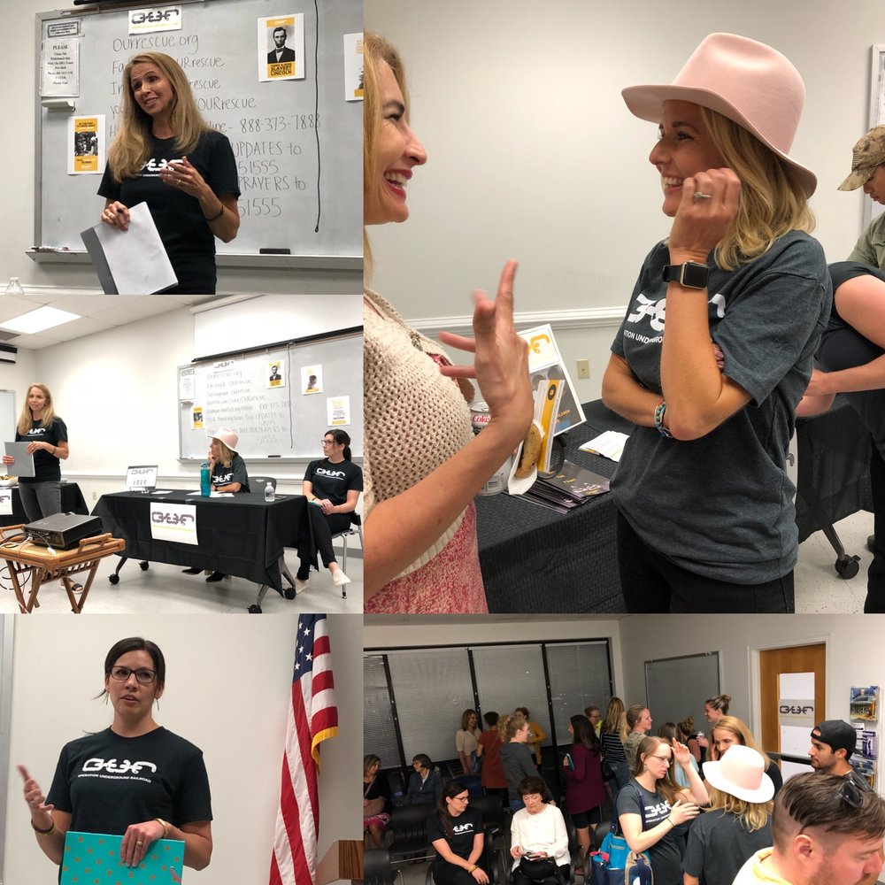 operation Underground Railroad Volunteers Kierstin Crain, Beth Graviet, and Megan Schlensker put together a brand new chapter of o.u.r. in Richmond, Virginia, on Sept. 26, 2018.
