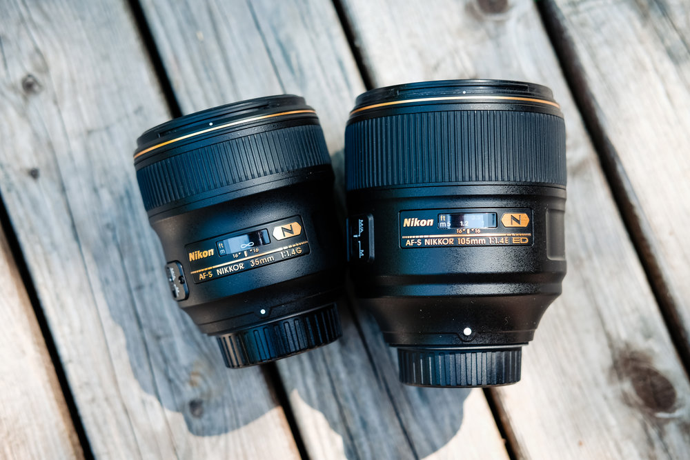 35mm 1.4 and 105mm 1.4