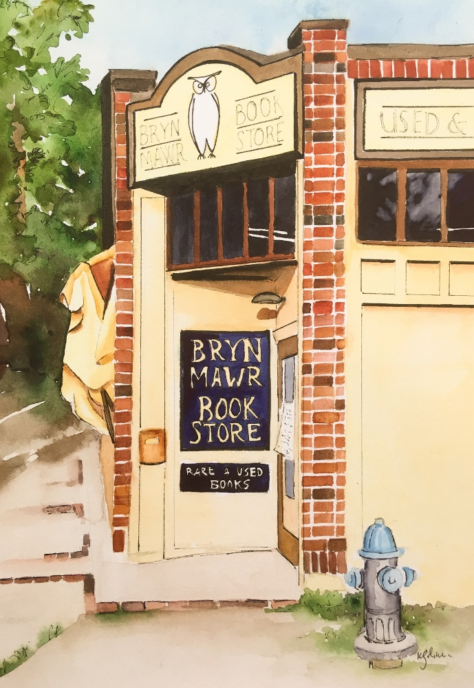 """Bryn Mawr   by Karen Golmer   Framed Giclee print (watercolor with ink, 14 x 11"""", $100)  Notecards also available"""