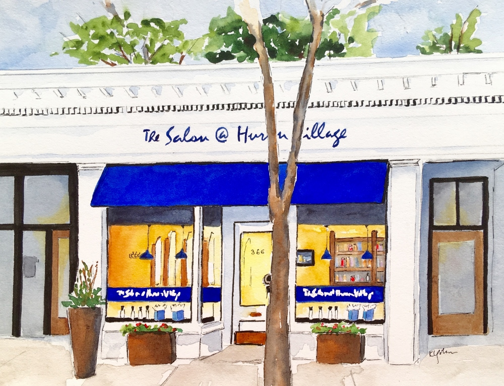Salon at Huron Village  by Karen Golmer   Framed Giclee print (watercolor with ink, 12 x 114, $100)