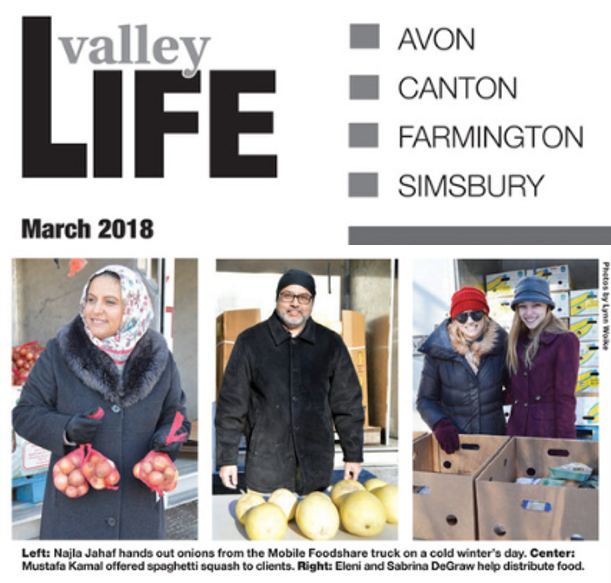 Strength From Diversity - Eleni, shown with her daughter Sabrina, is a regular volunteer at the twice-monthly Mobile Foodshare distribution at the Farmington Valley American Muslim Center. Valley Life Magazine, March 1, 2018. READ MORE ...