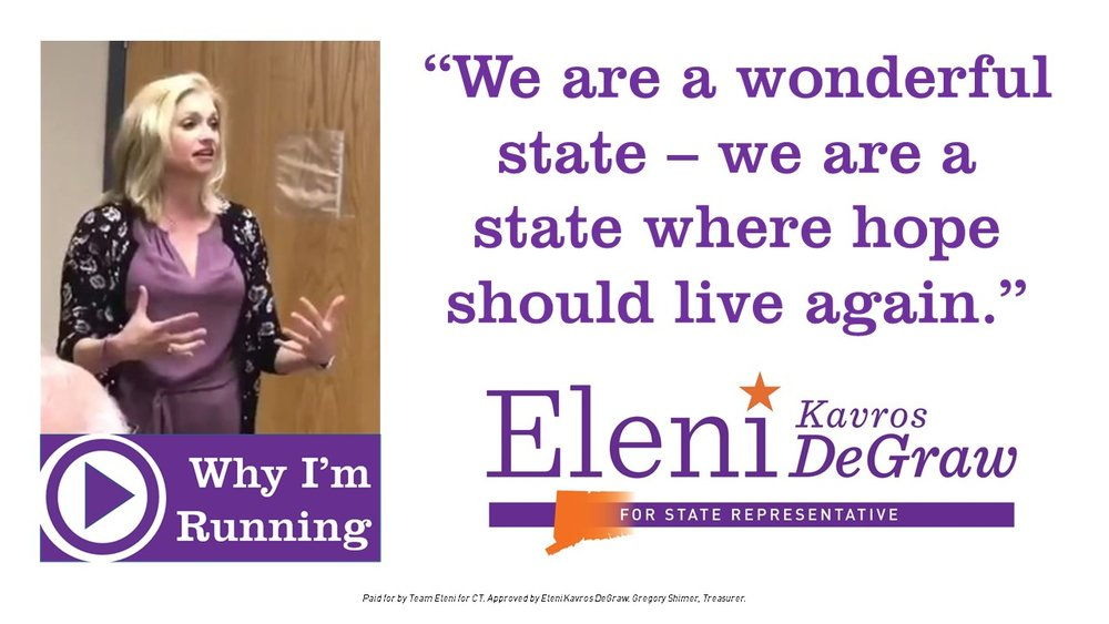 Video: Why I'm Running - Eleni spoke to delegates at the CT Democratic State Central Convention in April: