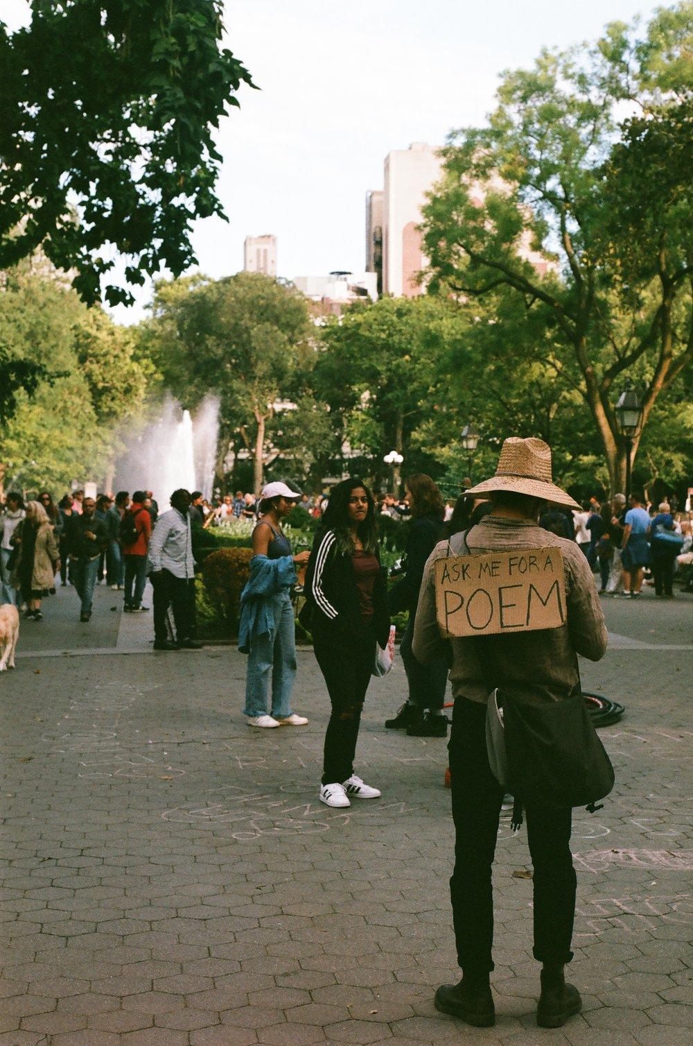 The Park Poet,Washington Square Park, September 2017