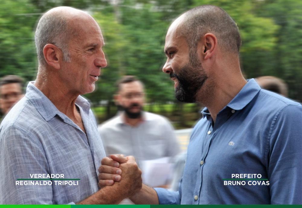 Vereador Reginaldo Tripoli e o prefeito Bruno Covas no lançamento do programa Reciclar para Capacitar