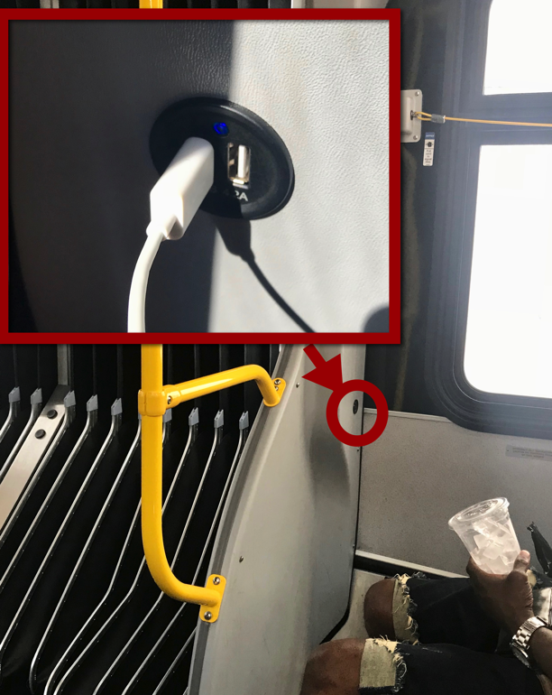 Handy USB ports on a crosstown bus